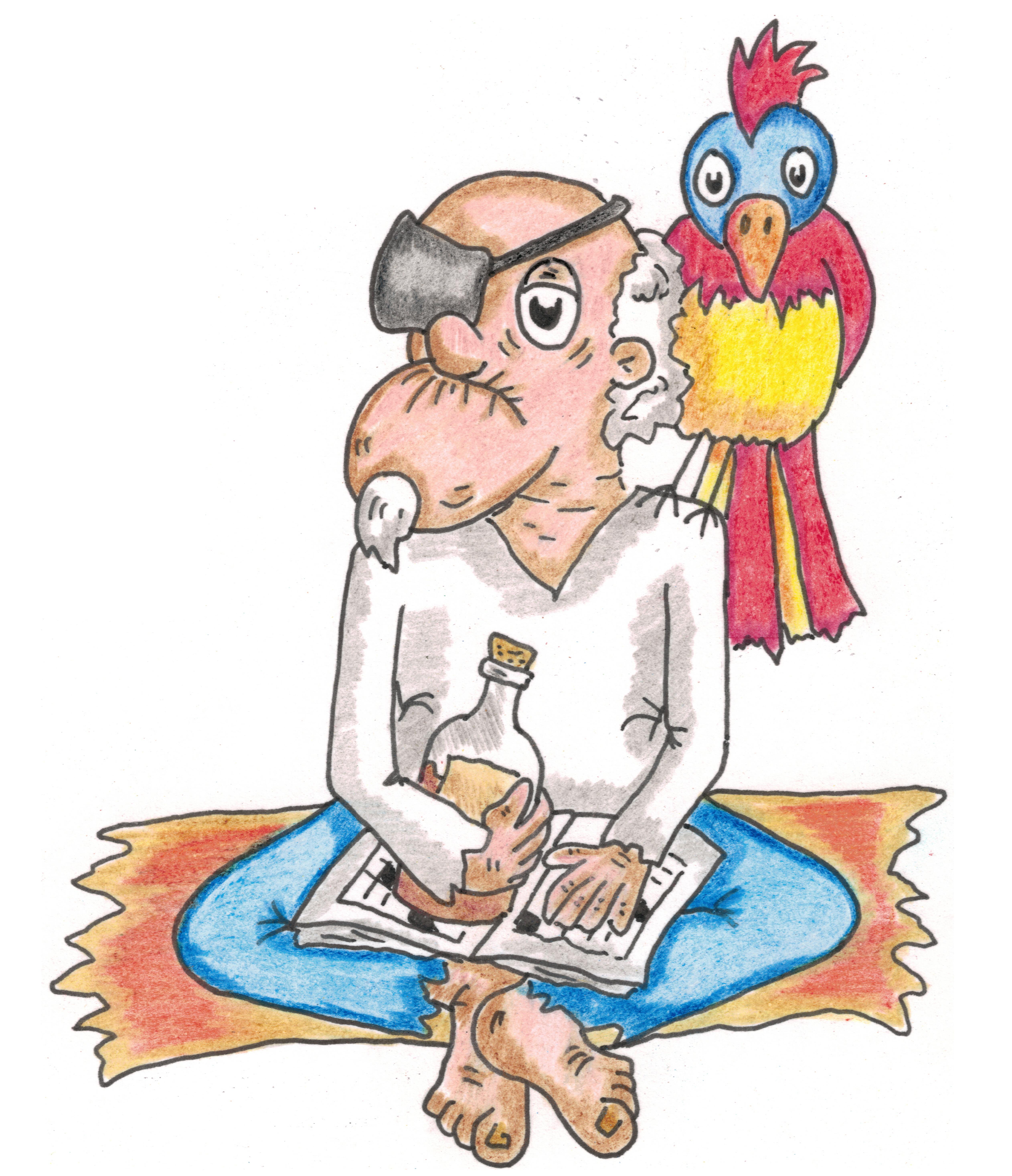 Mød den gamle sørøver Bill med papegøjen
